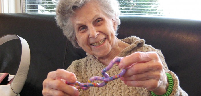 Bernice playing with a tangle