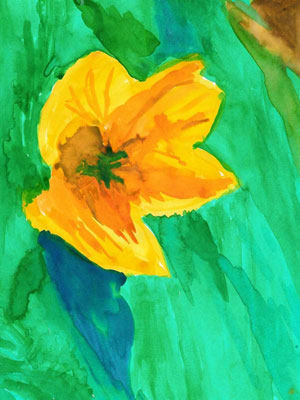 Art Therapy for Alzheimer's | Lemon Yellow Flower Floating in a Pond - a painting of a yellow lily on a green background